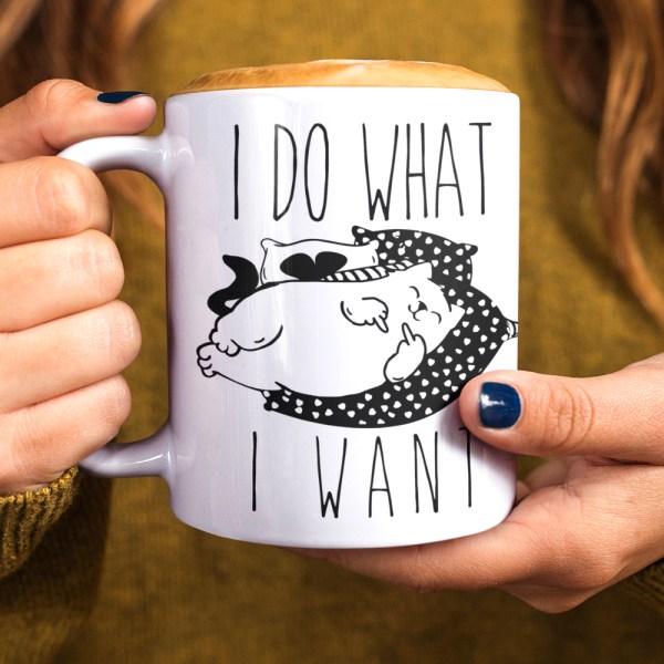 Funny I Do What I Want Cat Coffee Mug