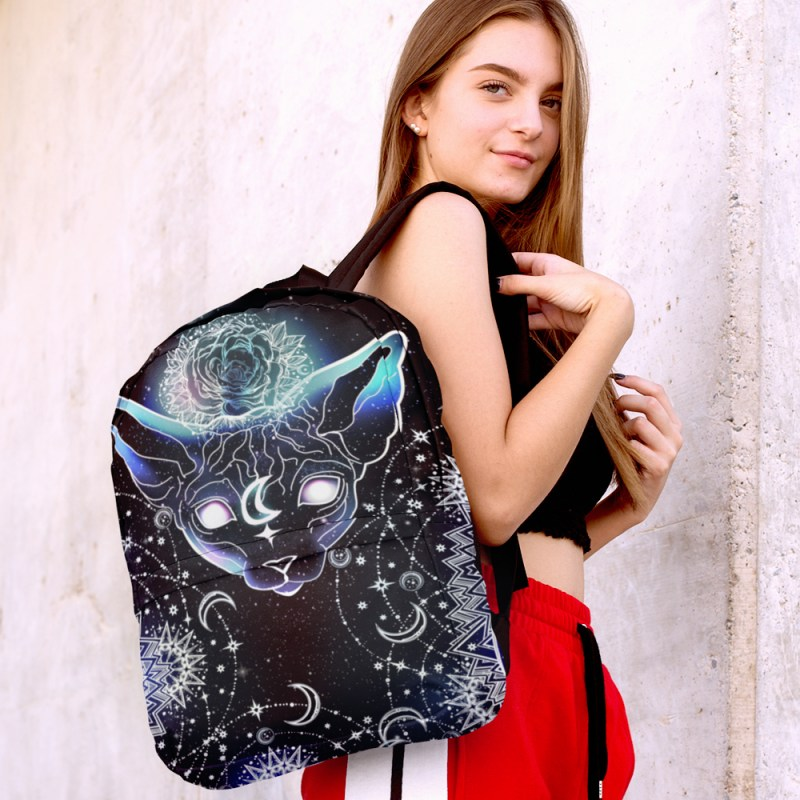 One of A Kind Celestial Moon Sphynx Cat Laptop Backpack