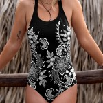 Black Henna One-Piece Swimsuit in Floral White
