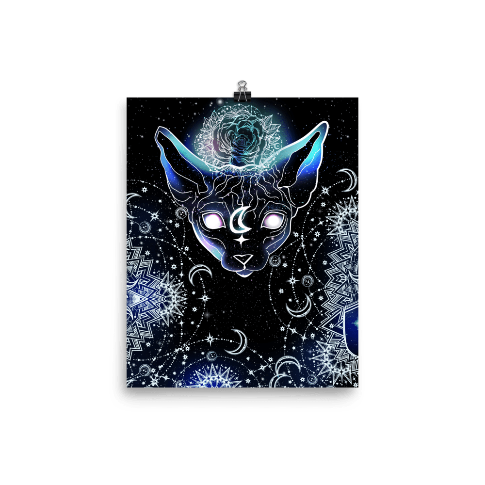 Celestial Space Sphynx Cat Wall Art Poster