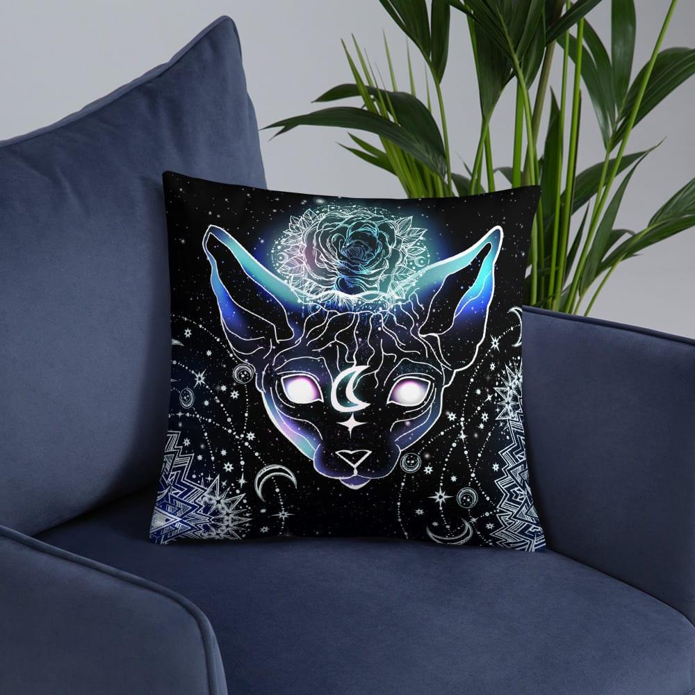Celestial Space Sphynx Cat Throw Pillow
