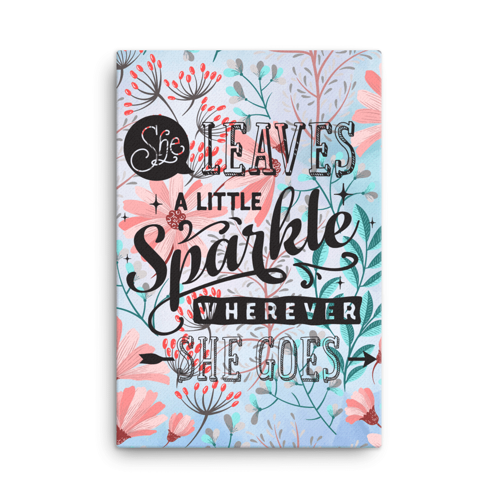 Motivational She Leaves A Little Sparkle Wall Art Canvas