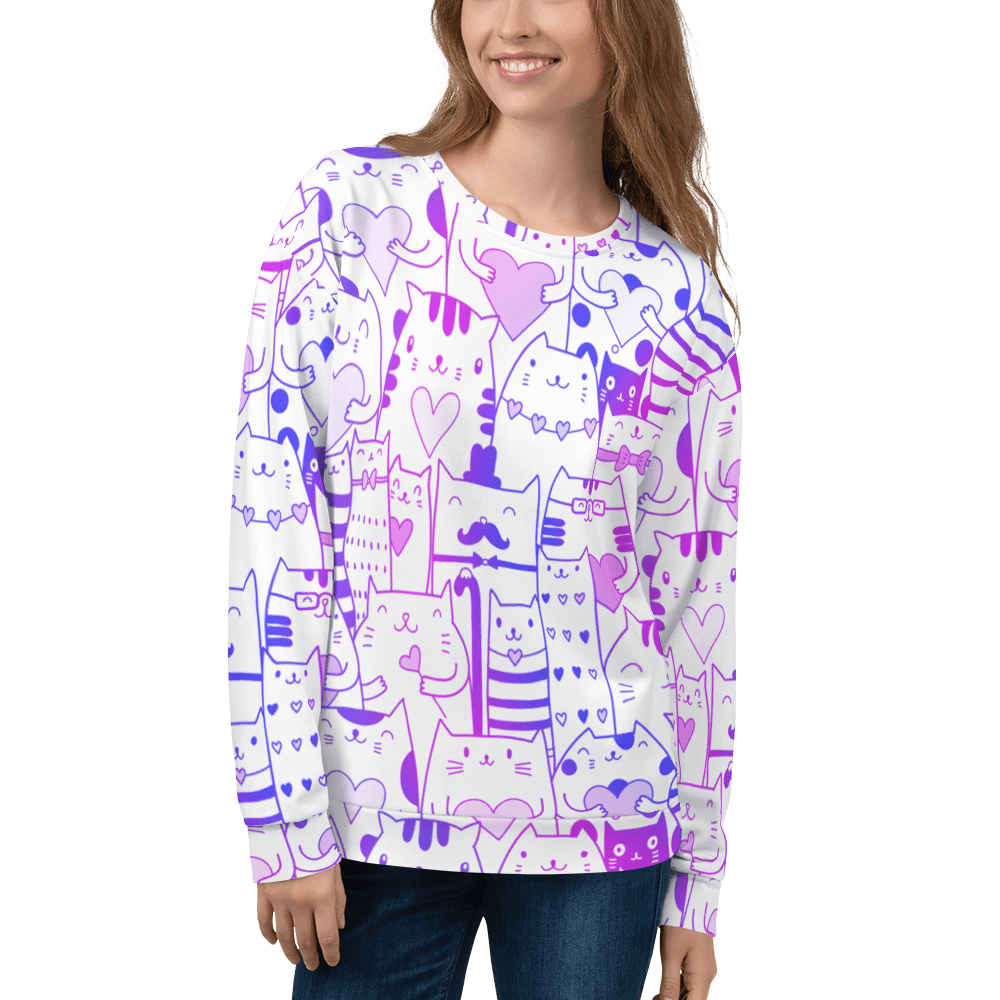 Kitten Love Hearts Sweatshirt