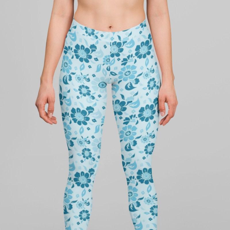 Floral Blue Daffodil Leggings