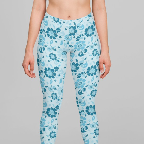 Floral Blue Daffodil Leggings