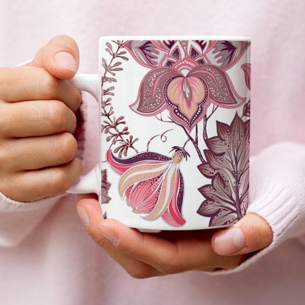 Japanese Stylized Amaryllis Floral Coffee Mug