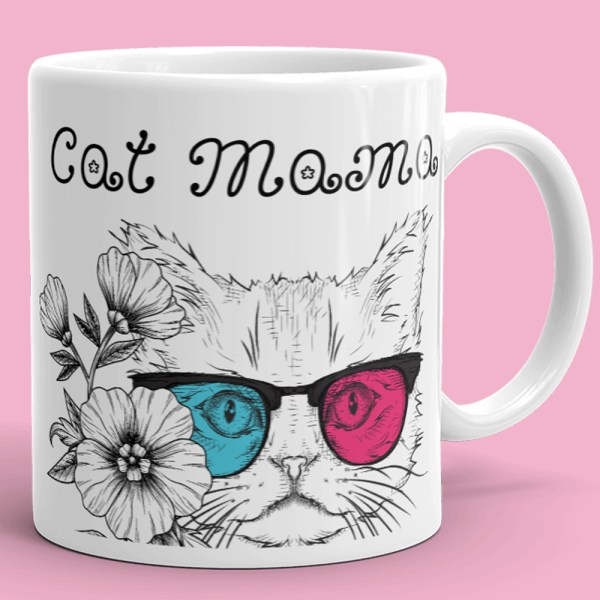Cat Mama Coffee Mug - Cool Glasses Cat Mom Mug