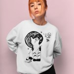 Space Cat Sweatshirt For Women - Cat Astronaut Crazy Cat Lady Christmas Sweater