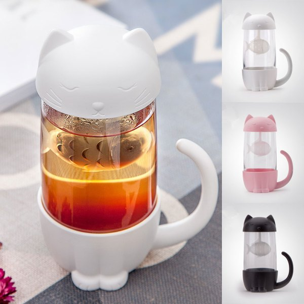 Cat Shaped Fish Infuser Tea and Coffee Cat Mug - Cute Cat Lover Gifts