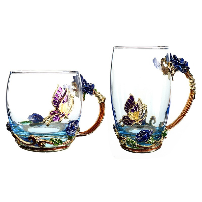 Eco-Friendly Engraved Butterfly Rose Glass Mug
