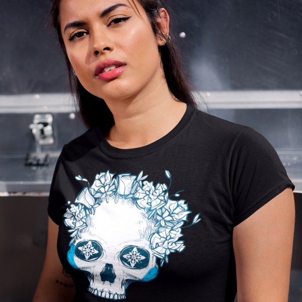 Icy Blue Floral Half Skull T-Shirt