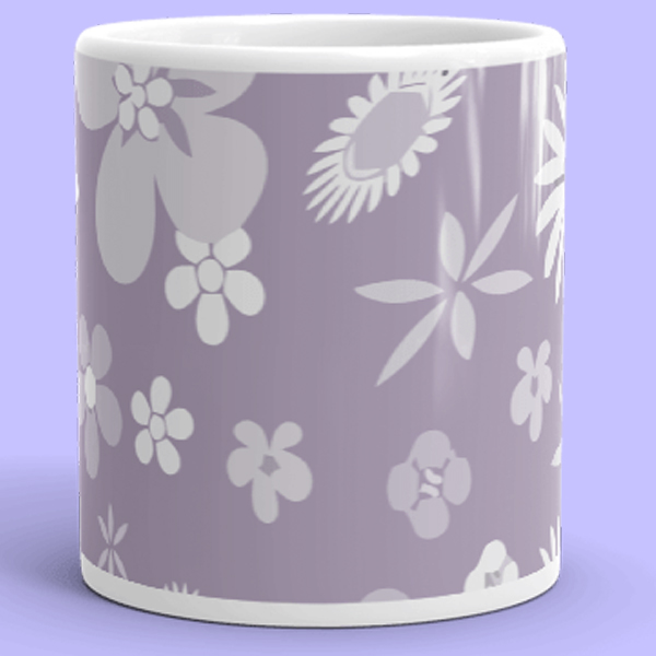 Purple Flower mug cute