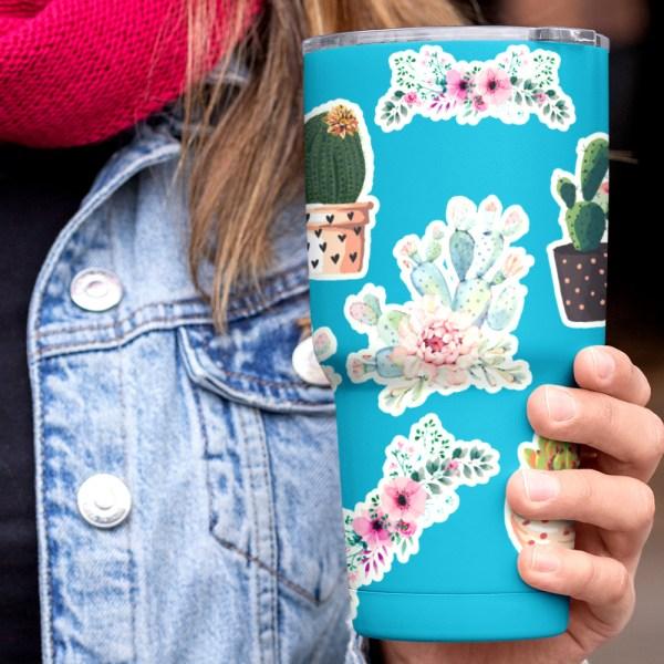 Cute Succulent Floral Cactus water bottle stickers