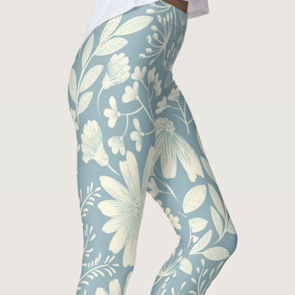 Pale Blue Lily of The Incas Printed Yoga Leggings For Women