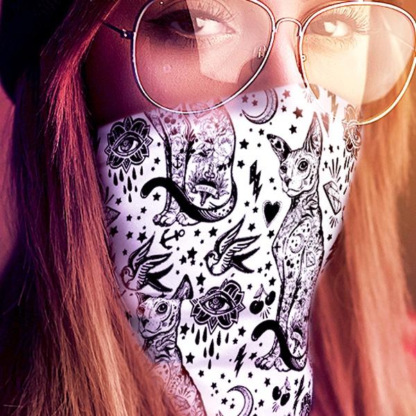 Boho Gothic Black Sphynx Cat Multi-use Neck Gaiter For Women | 12-in-1 Cat Face Shield | Washable | Sphynx Bandana | Hair Wrap | Face Cover