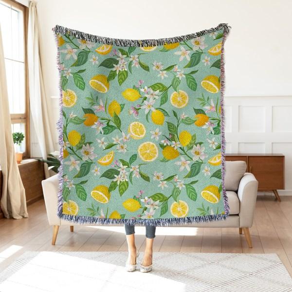 Lemon Citrus Woven Throw Blanket Wall Tapestry