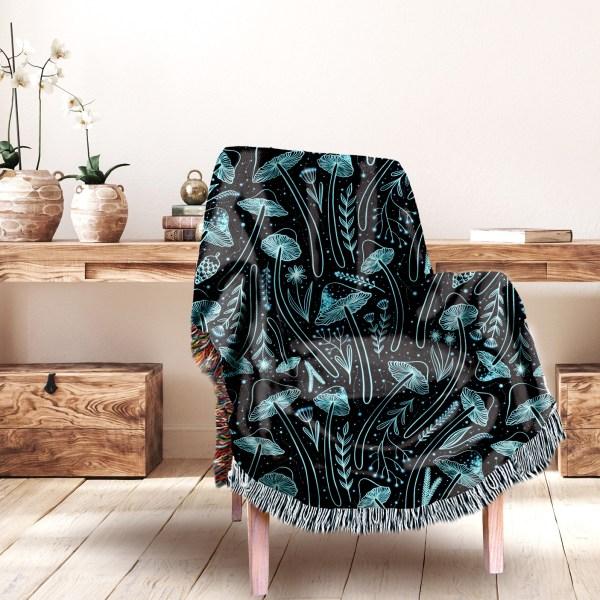 Celestial Mushroom Woven Blanket