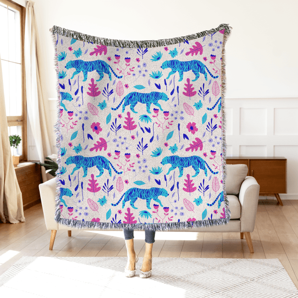 Blue Tiger Woven Throw Blanket Wall Tapestry