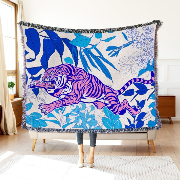 Botanical Tiger Woven Throw Blanket Wall Tapestry