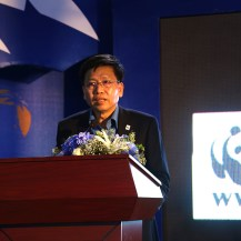 WWF-Cambodia's Country Director, Teak Seng, speaking at the event to bring awareness to Asia's snaring crisis