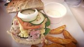 Served with potato wedges with yummy dip