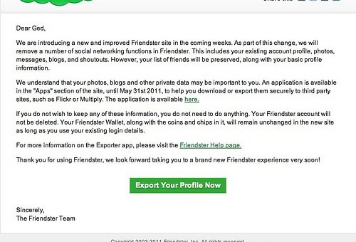 Deleting my Friendster account