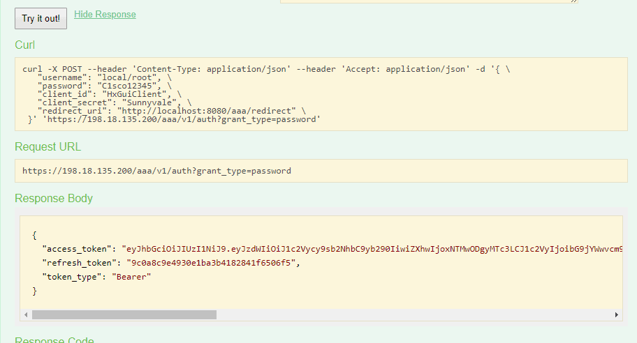 Cisco HyperFlex API Token