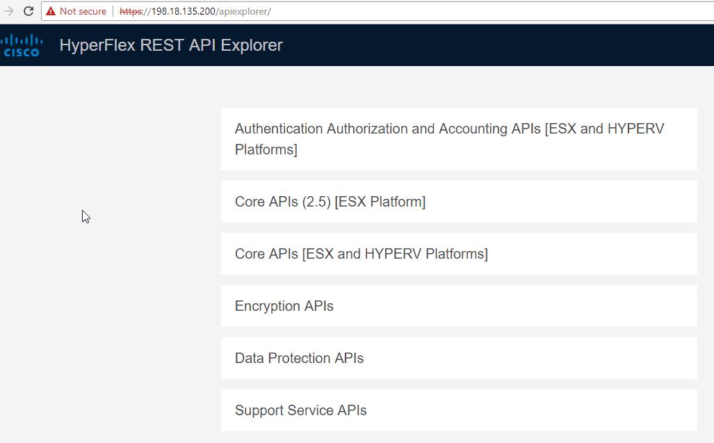 Cisco HyperFlex Rest API Explorer