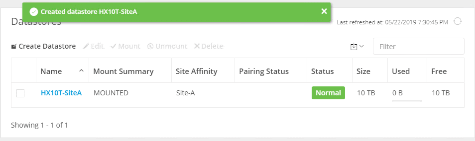 Datastore with affinity has been created.