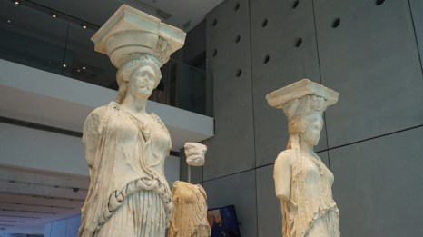 The original caryatid statues, protected inside the museum. The statues on site are replicas.