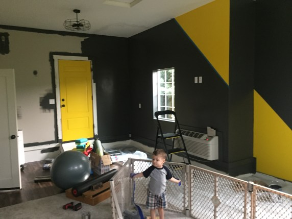 black and yellow home gym