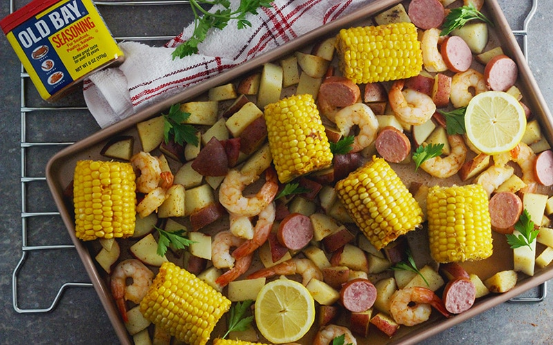 Sheet Pan Shrimp Boil made with Old Bay