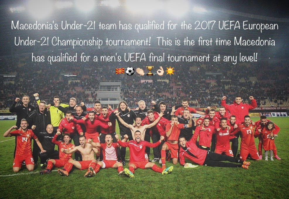 Macedonia's Under-21 Team Qualifies for 2017 UEFA Euro Under-21 Championship Tournament