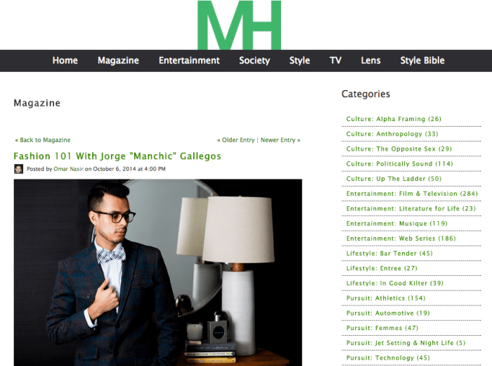 Jorge Gallegos interviewed by Man of the Hour Magazine