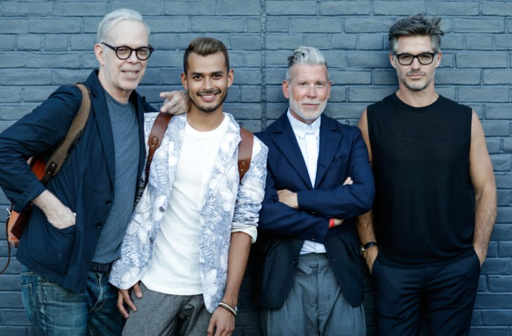 Richard Haines, Jorge Gallegos, Nick Wooster and Eric Rutherford attend Amazon Fashion NYFW Party. July 2015 (Photo David X Prutting/BFA.com)