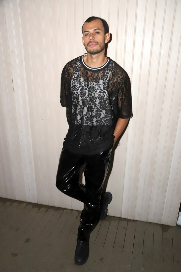 Mesh shirt paired with vinyl pants for Marco Marco NYFW 2018 Afterparty (Photo Jeff Eason)