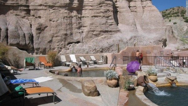This October 2012 photo of Ojo Caliente, a natural hot springs attraction in New Mexico. The site includes a hotel and restaurant in addition to mineral springs, a variety of pools and a mud bath. (AP Photo/Beth Harpaz)