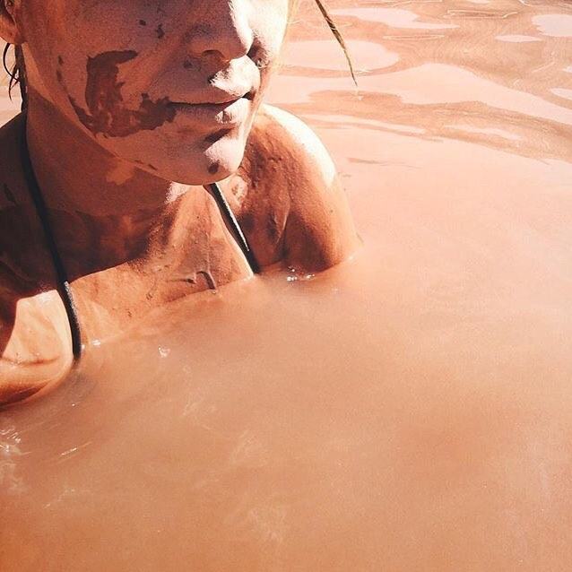 "Where else can you slather mud all over your body and bake in the sun until done? As our special blend of clay dries, toxins are released from the pores of your skin and you come away feeling cleansed and refreshed. ""Iceland might have the Blue Lagoon, but Ojo Caliente has rejuvenating mud baths."" ? / Photo by instagram.com/ojospa"