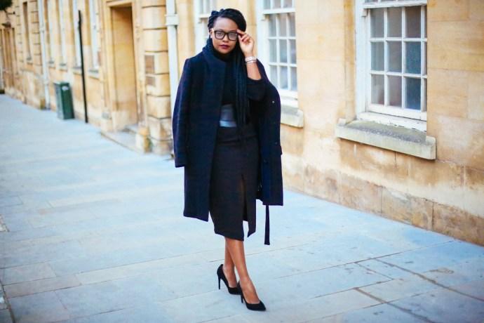 How I wear a high waisted pencil skirt, iamnrc, how to wear a pencil skirt, reiss coat, wrap coat, black uk fashion blogger