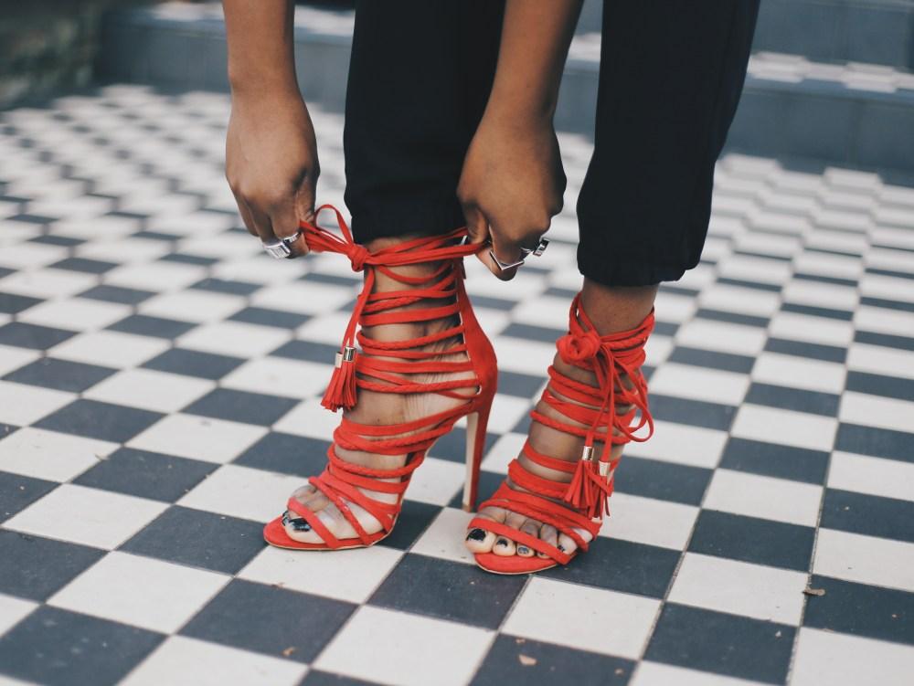 red tassel heels