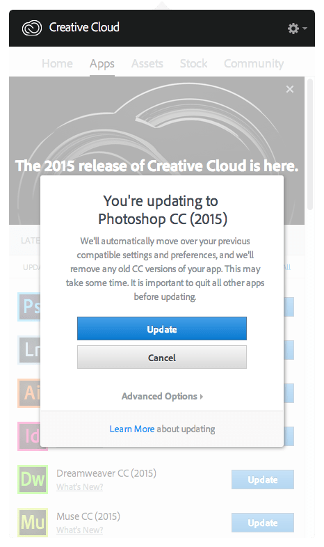 Updating Creative Cloud Step 2