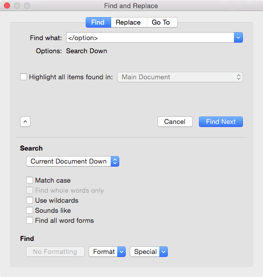 Figure 1: The Mac version of Find and Replace.