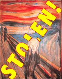 The Scream:  In the foreground of the picture, on a road with railings, is a figure hands raised to his head, eyes staring, mouth agape. Further back are two men in top hats and behind them a landscape of fjord and hills in wavy lines against a deep red sunset.