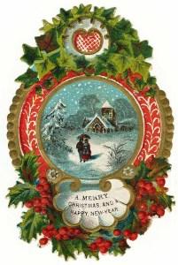 christmas vintage snow postcard
