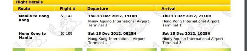 Round trip ticket MNL - HK - MNL