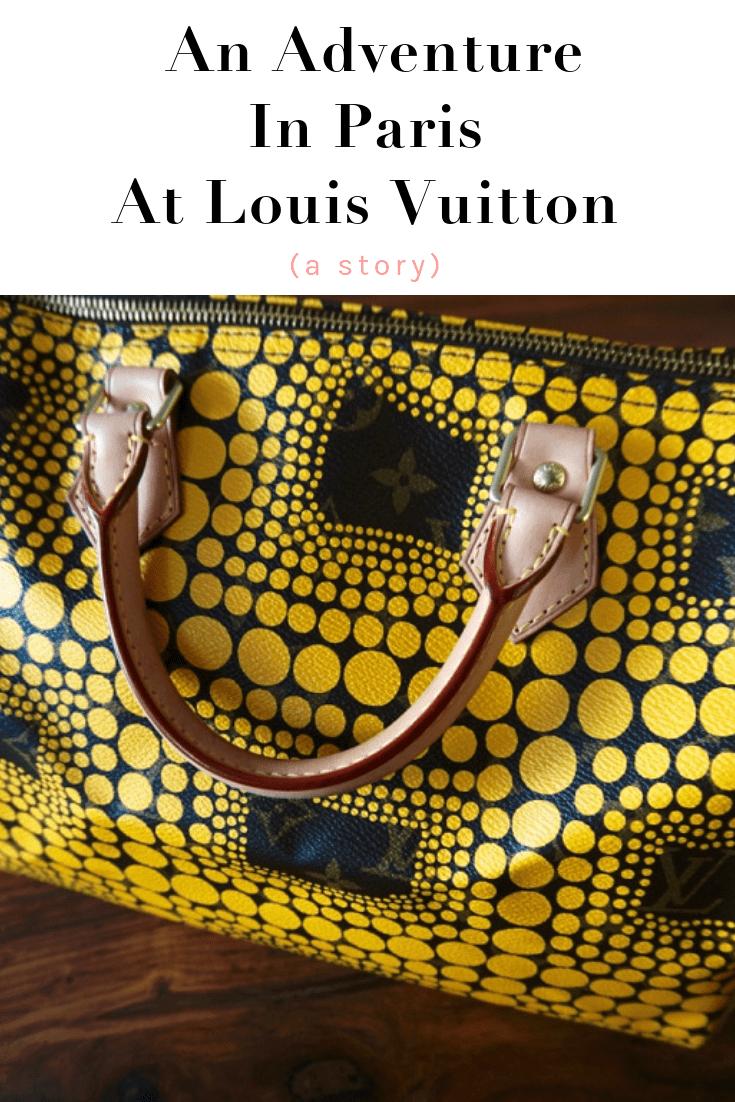 I bought my Louis Vuitton Kusama Speedy purse in Paris.  It was quite the adventure!  #louisvuitton #kusama #paris #france #style #fashion #writer #story #comedy