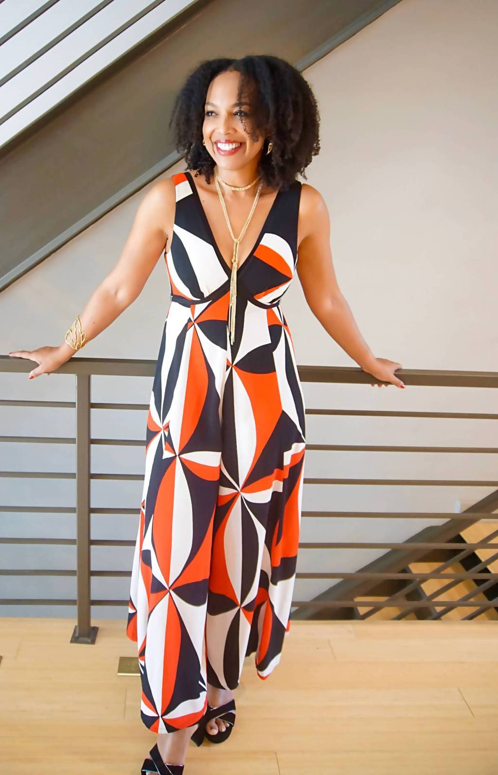 It's tricky to know what to to wear to a business party! A jumpsuit from Anthropologie is perfect. - Sherrelle