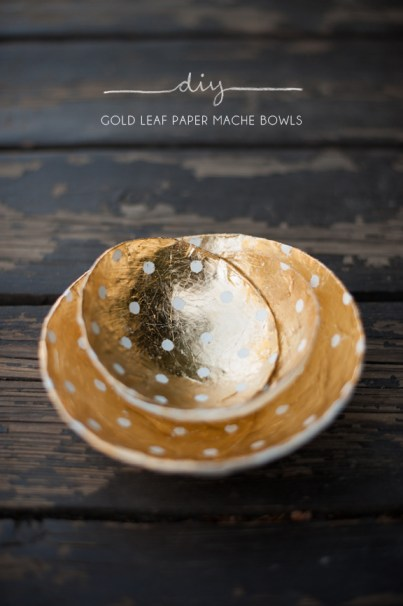 diy gold leaf paper mache bowls product photography example