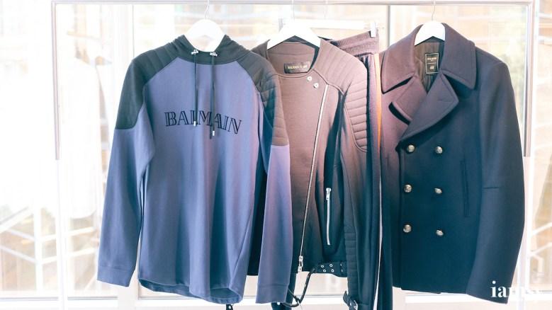 (left to right) Blue Hoodie HK$399, Black Jersey Jacket HK$999, Black Wool Coat HK$1490