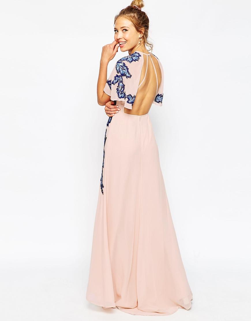 ASOS Floral Embellished Flutter Sleeve Maxi Dress HKD$ 1,062.48